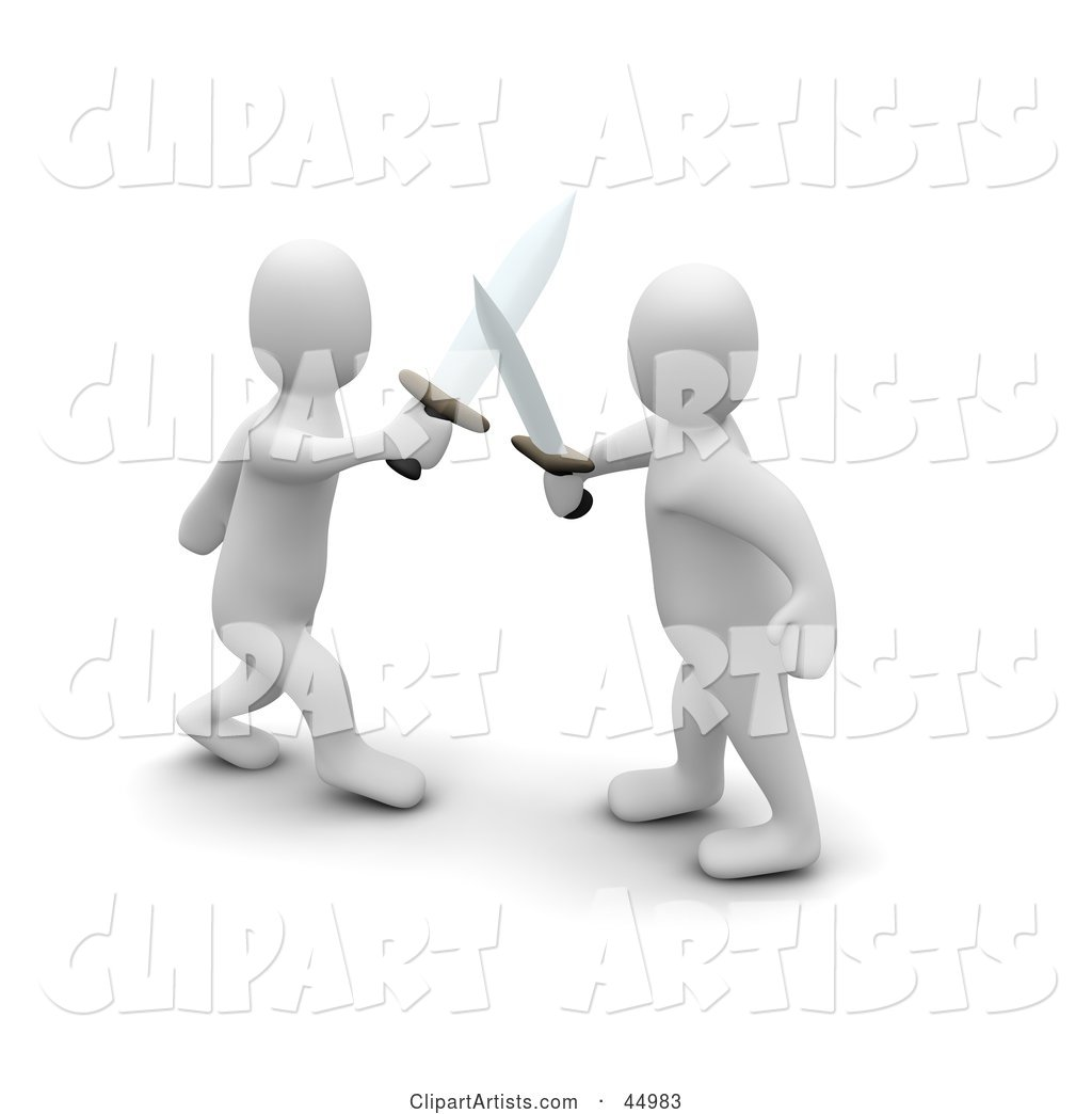 Two Blanco Man Characters Fencing with Swords