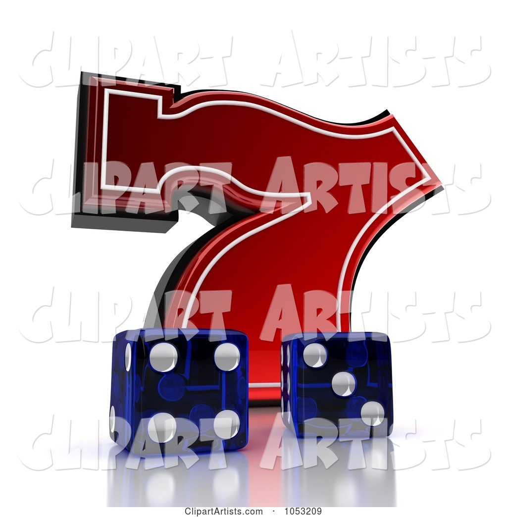 Two Blue Dice and a Red Lucky Seven 7