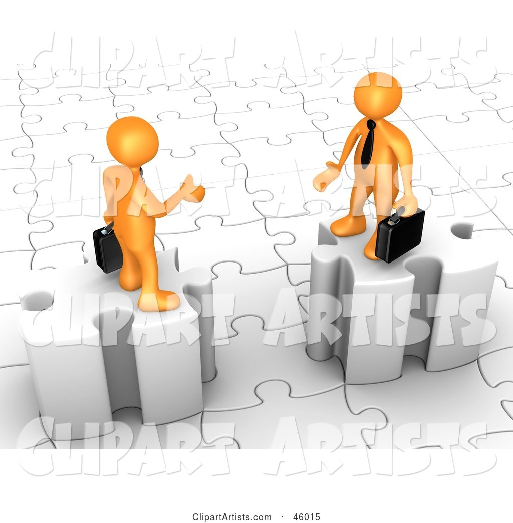 Two Orange Businessmen on Puzzle Pieces, Reaching out to Shake Hands