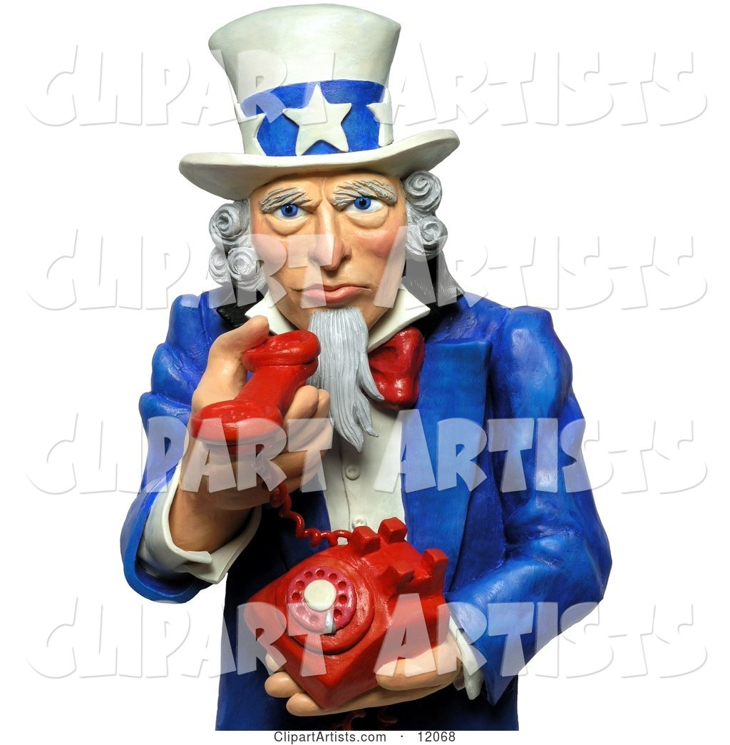 Uncle Sam Holding a Phone and Urging You to Call