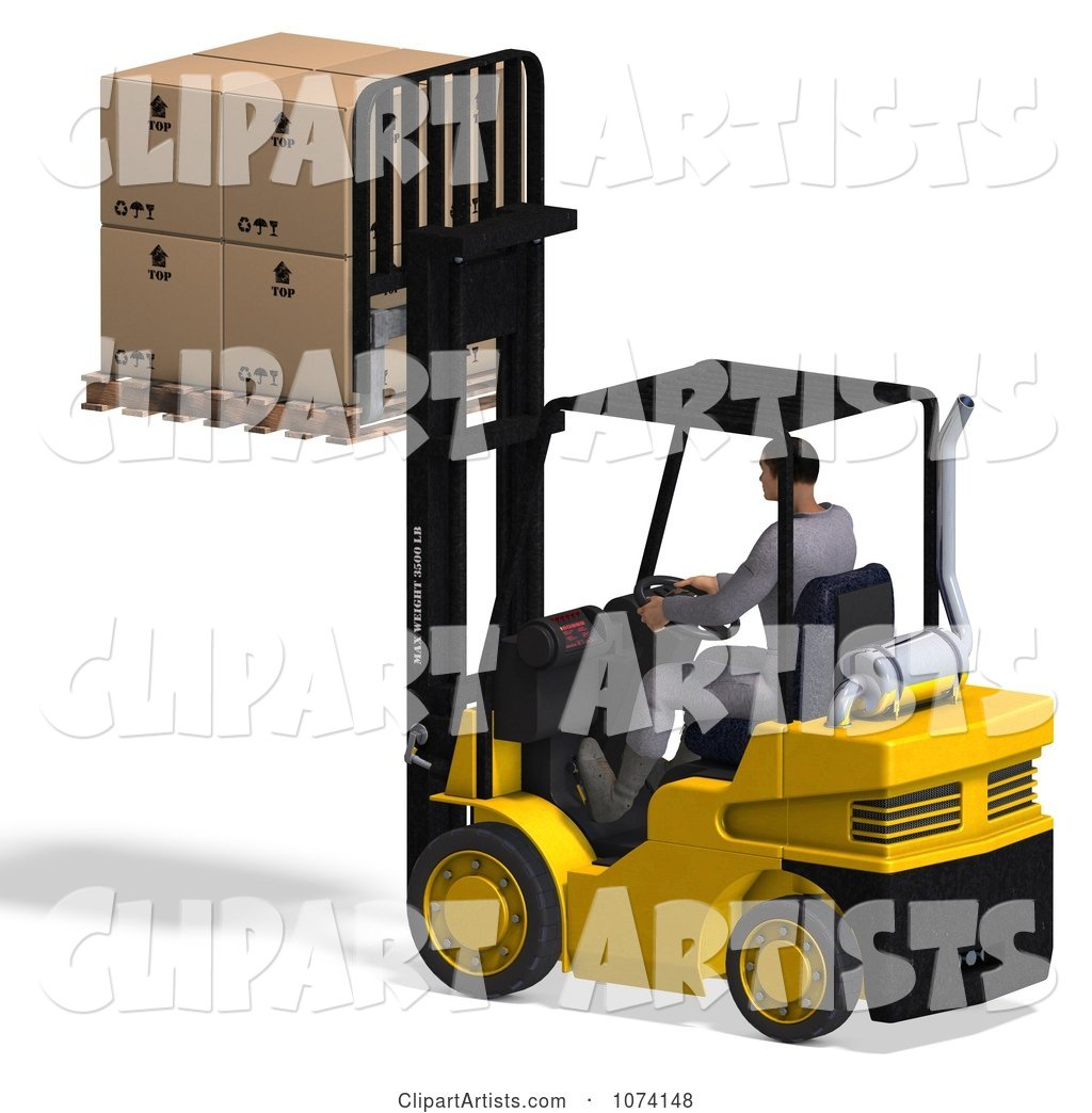 Warehouse Forklift Operator Moving Boxes 2
