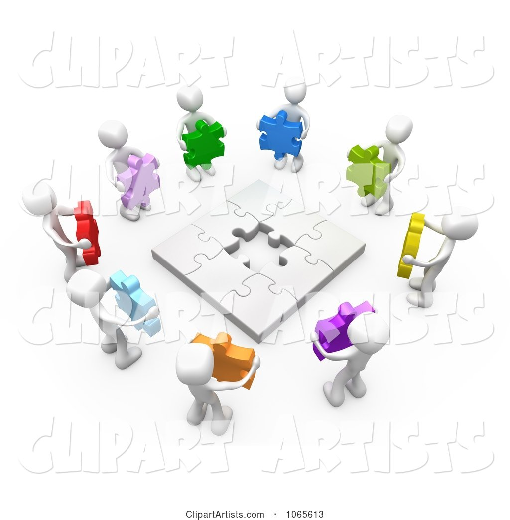 White People Holding Colorful Puzzle Pieces