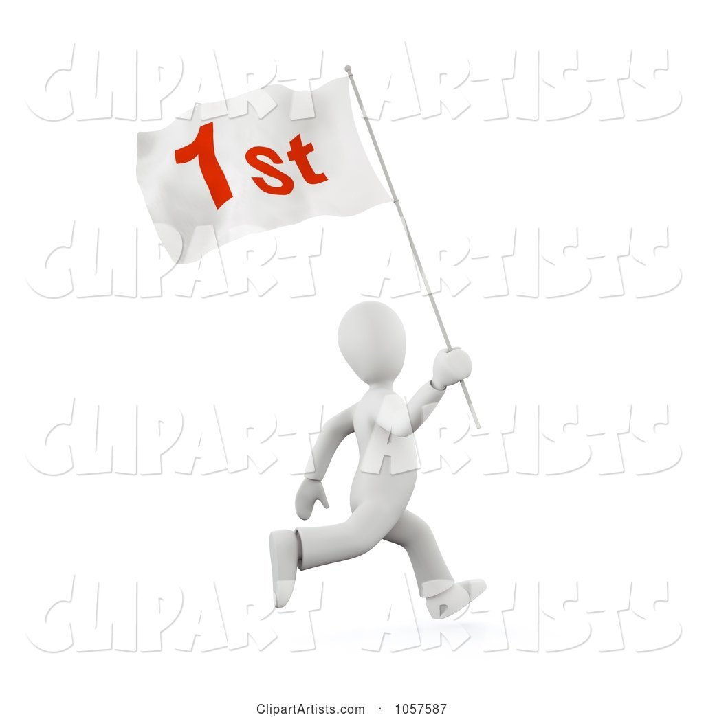 White Person Running with a First Flag