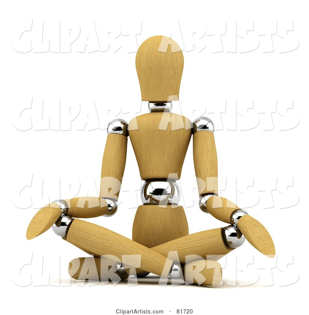 Wood Mannequin Sitting and Doing Yoga