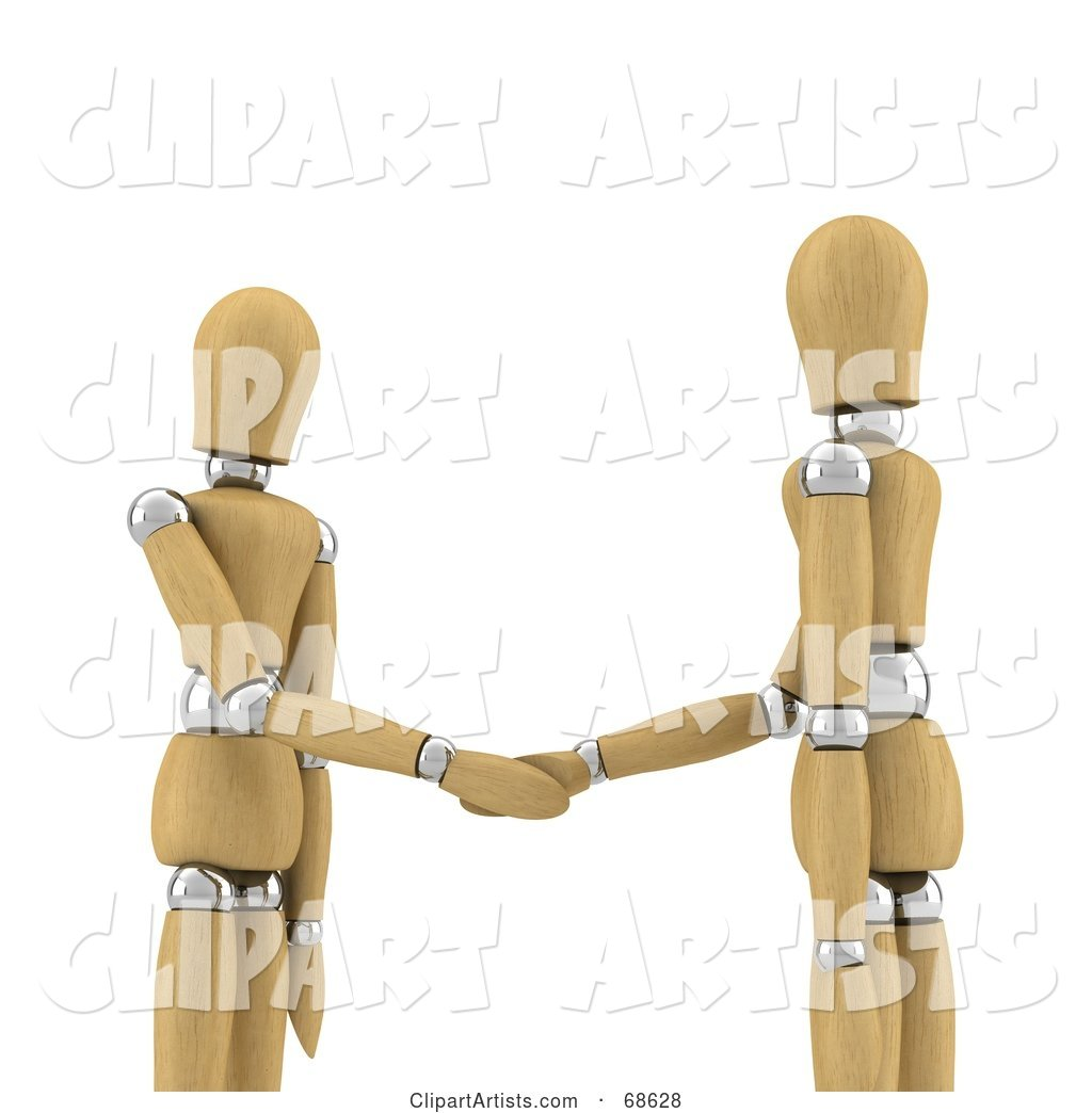 Wood Mannequins Shaking Hands