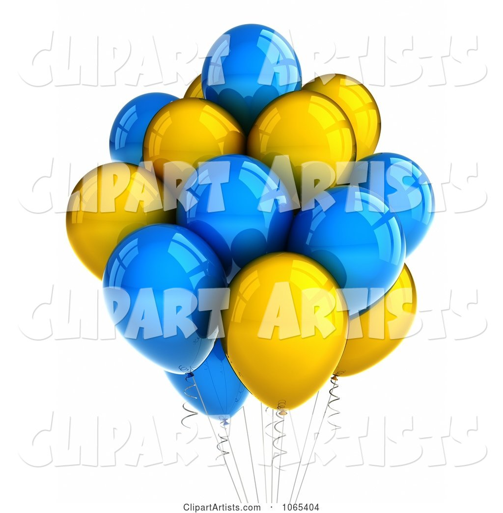 Yellow and Blue Helium Party Balloons