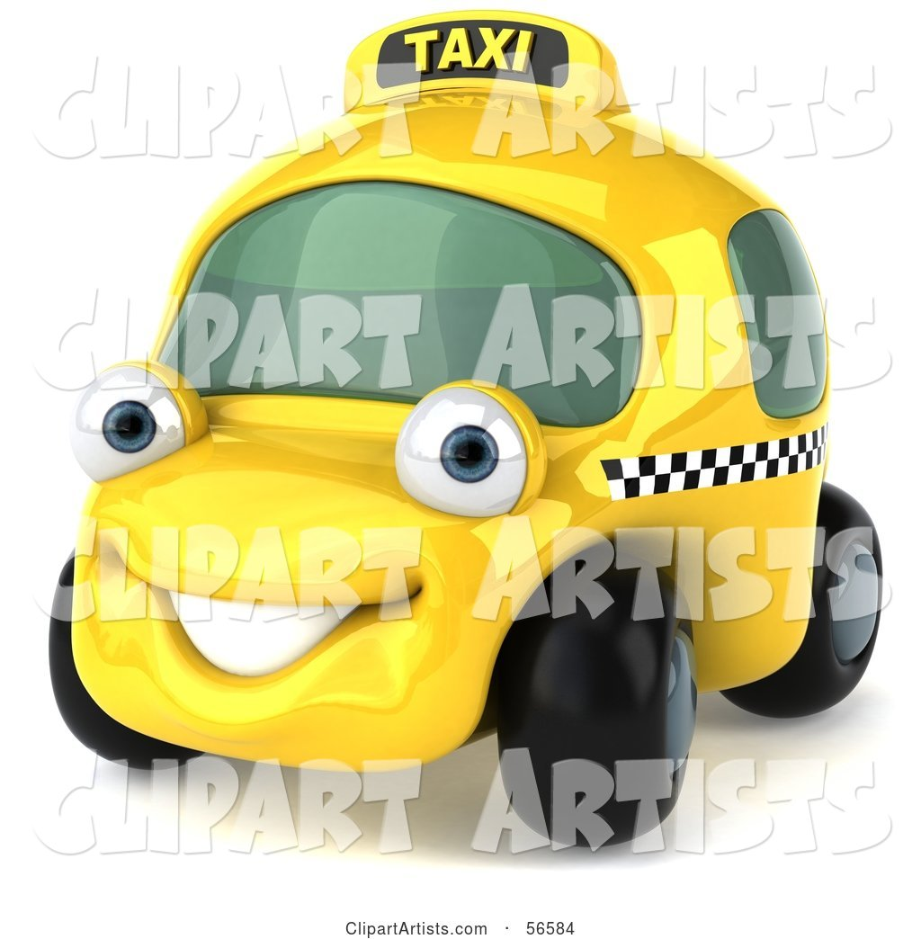 Yellow Taxi Cab Character Car - Version 1