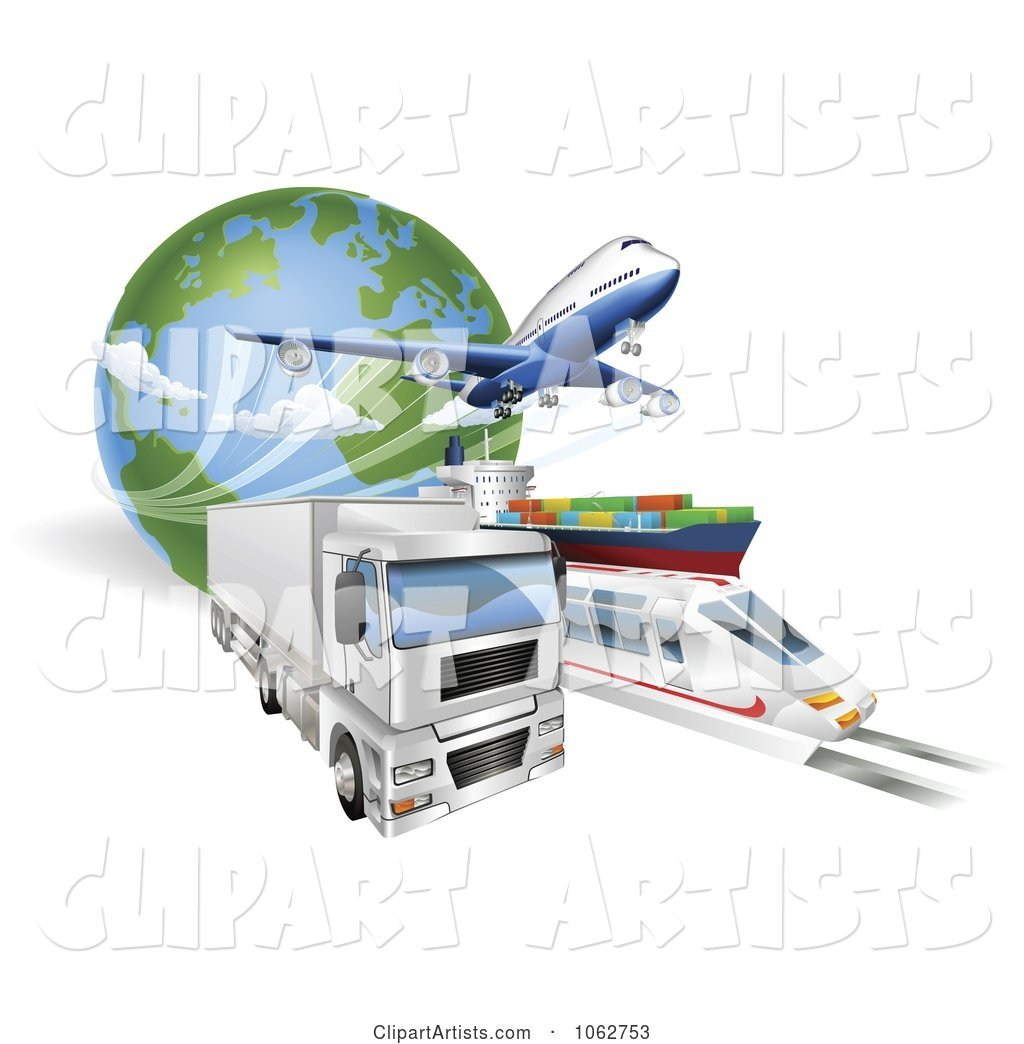 Big Rig, Train, Cargo Ship and Airplane with a Globe