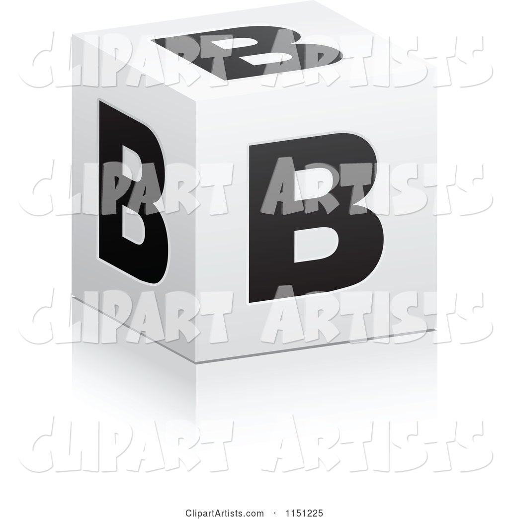 Black and White Letter B Cube Box