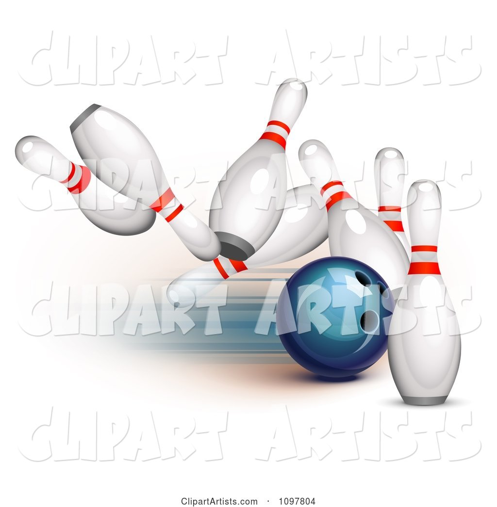 Blue Bowling Ball Striking into Pins