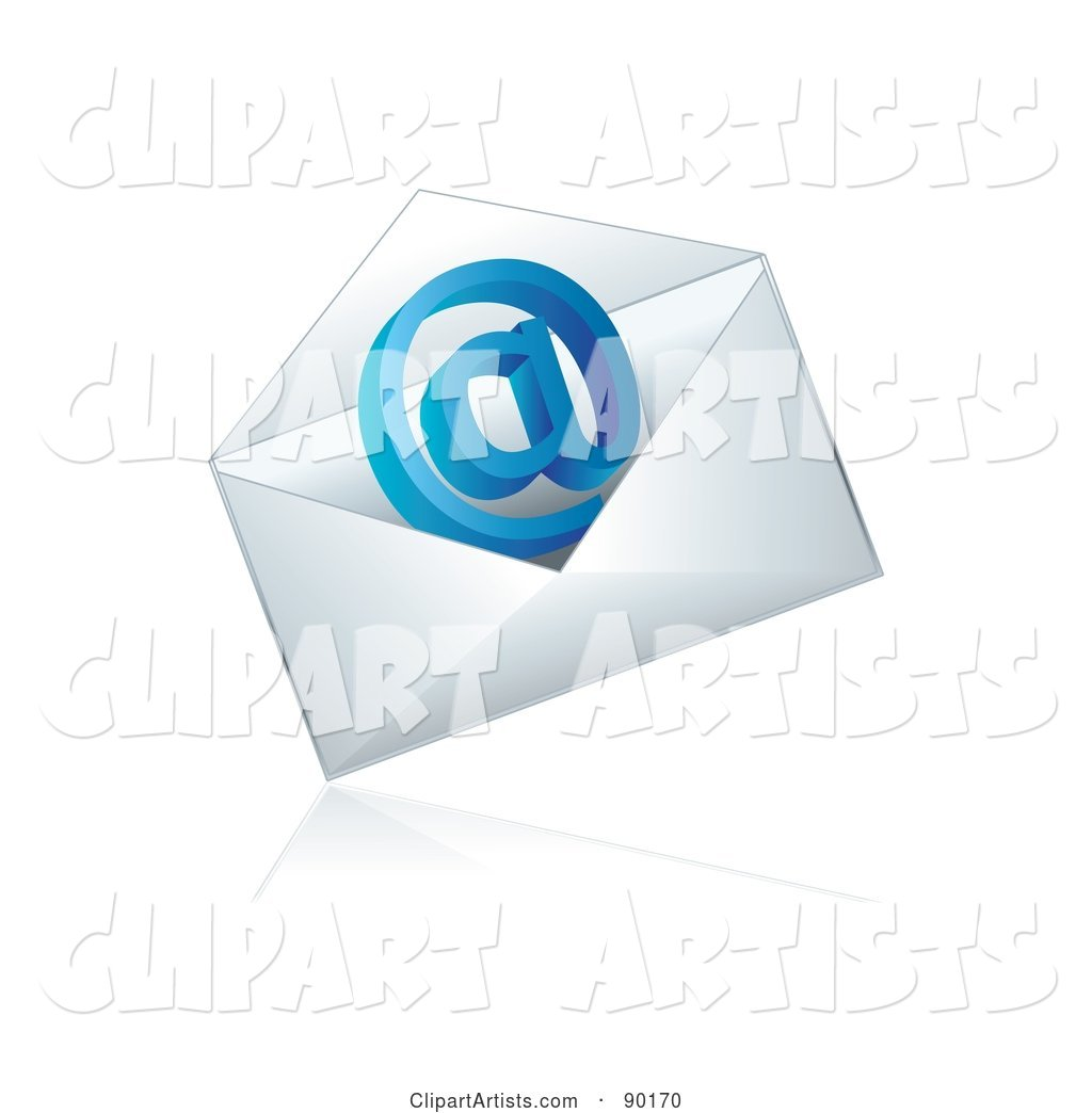 Blue Email at Symbol in an Envelope