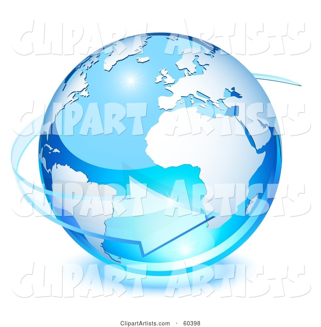 Blue Planet Earth with a Transparent Glass Arrow Circling