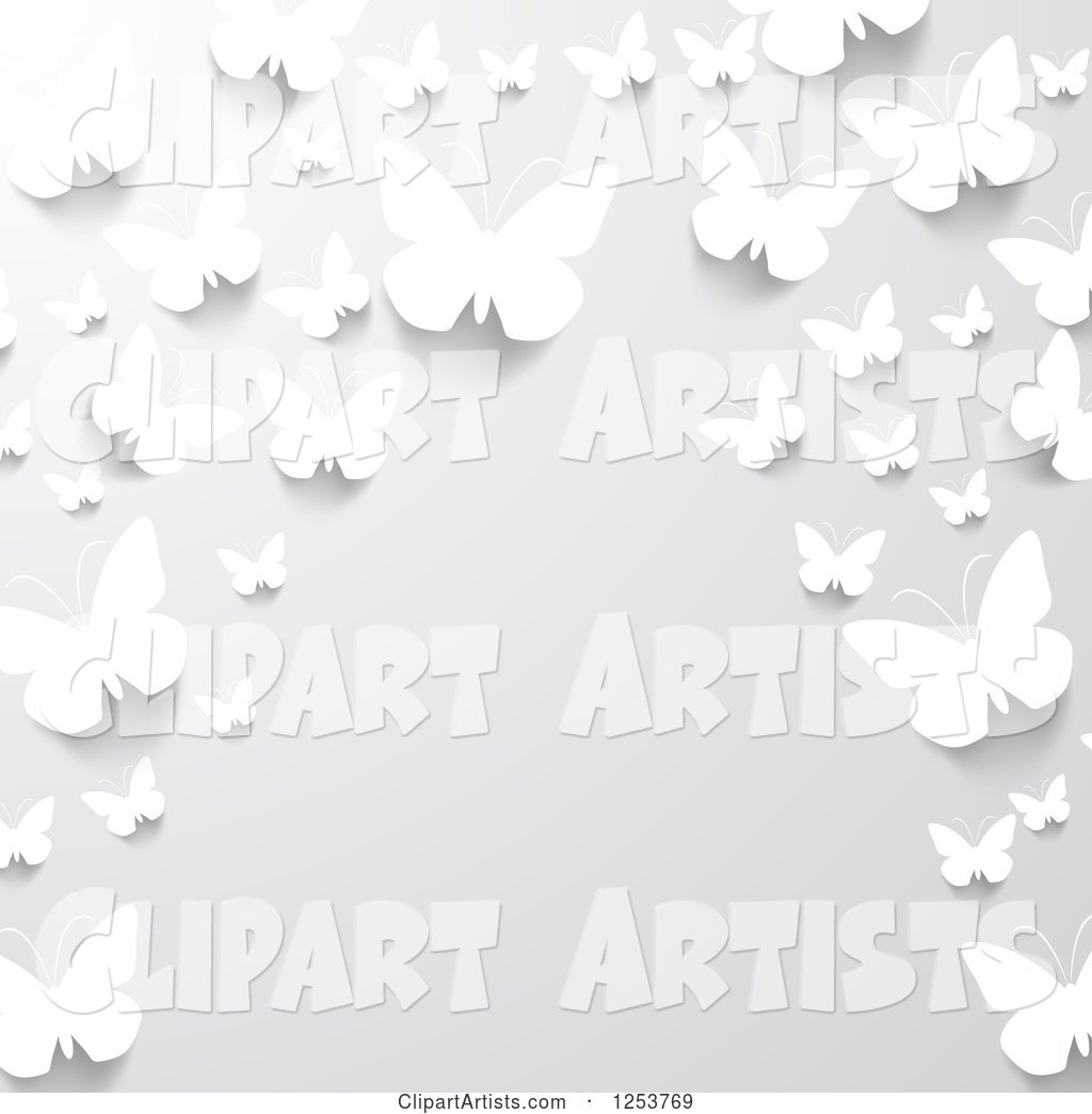 Border of White Paper Butterflies on Gray