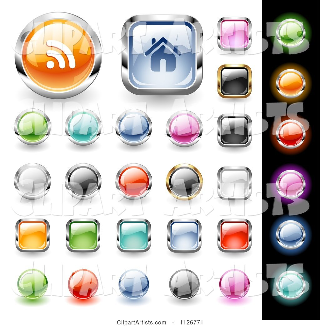 Colorful Website Icon Button Design Elements