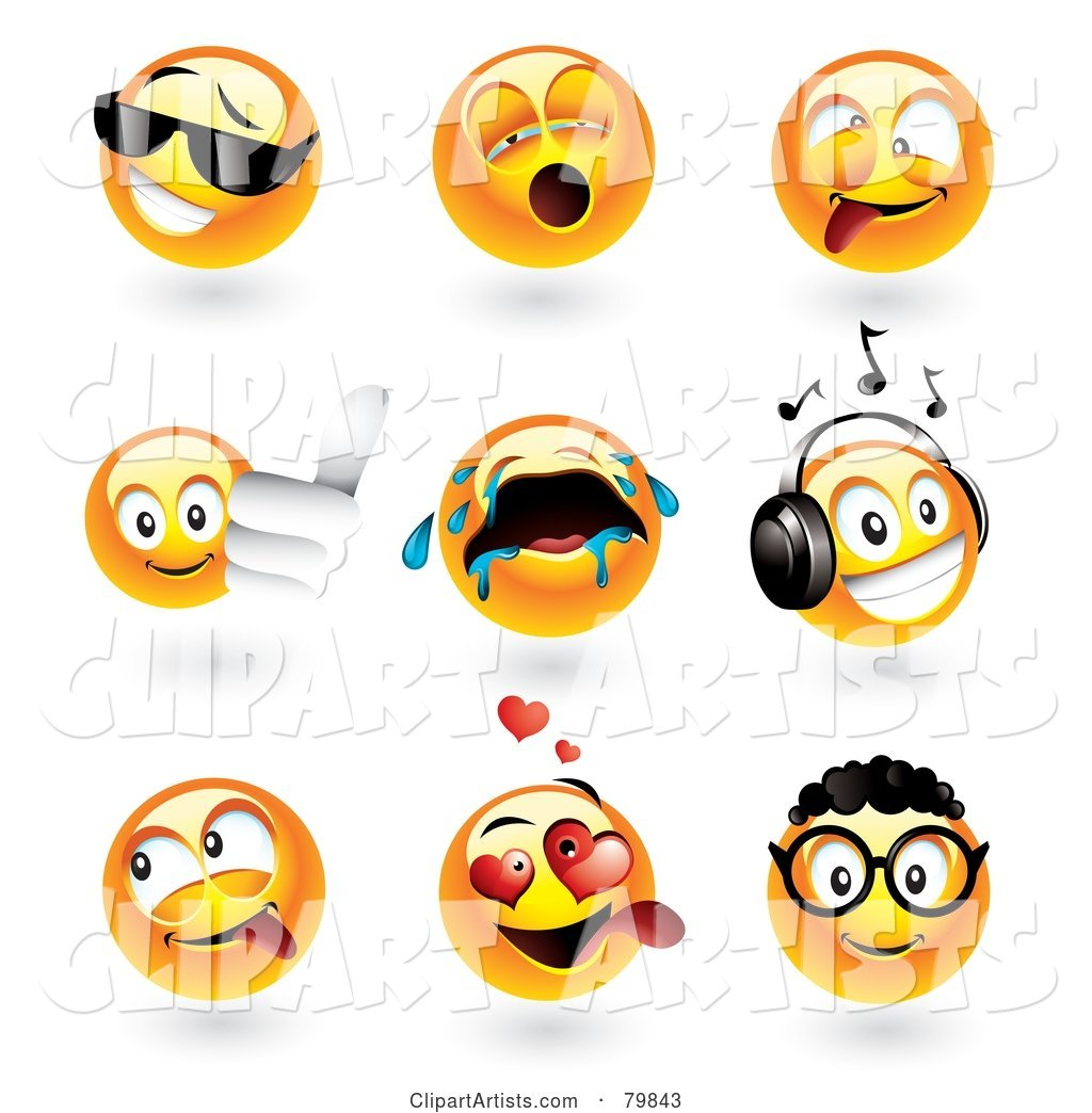 Digital Collage of Emoticon Faces; Cool, Yawning, Goofy, Thumbs Up, Crying, Music, Teasing, Amorous and Nerd