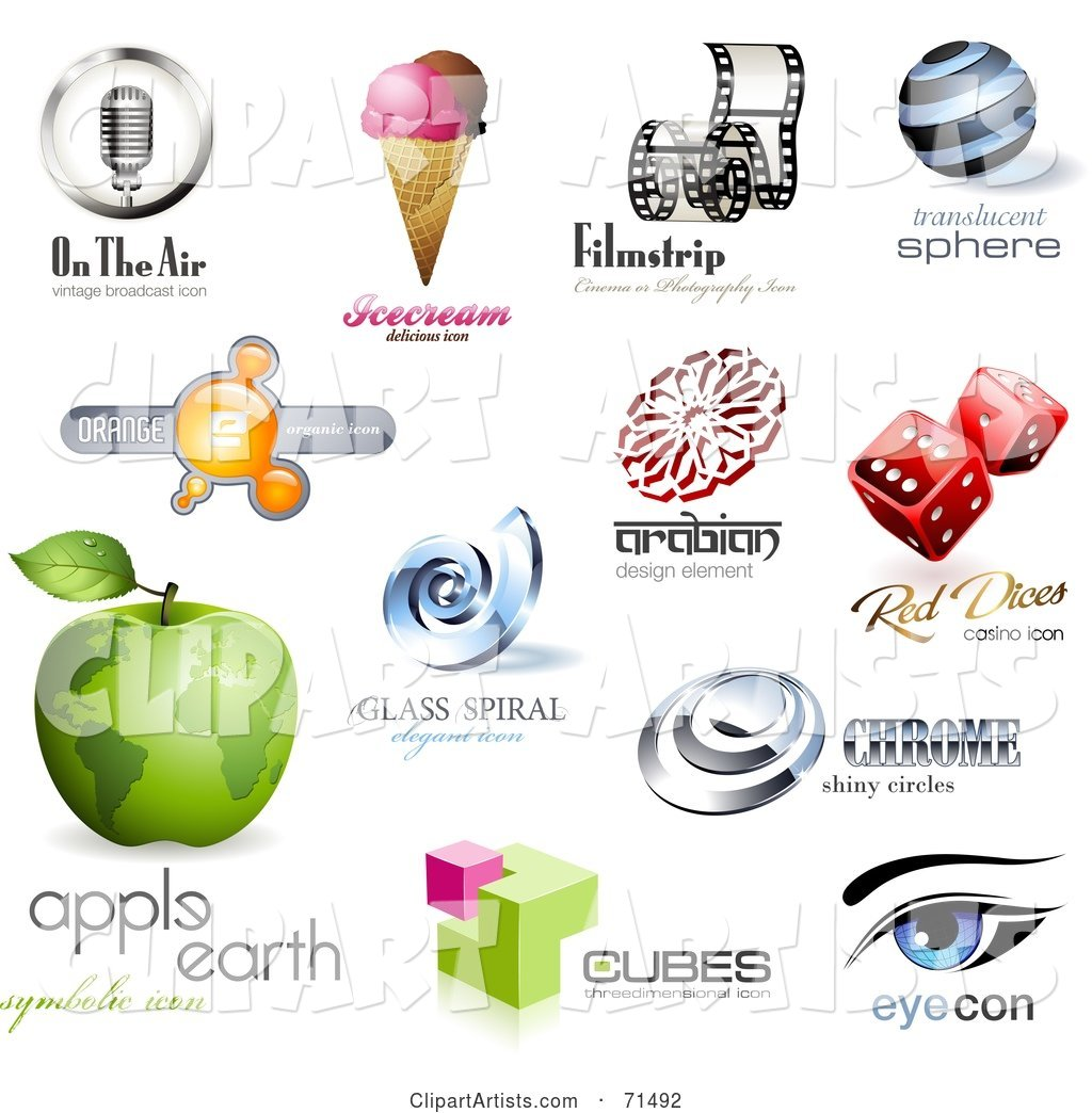 Digital Collage of Logo Icons - Version 3