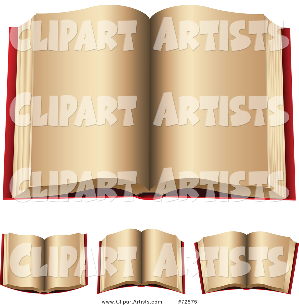 Digital Collage of Red Open Books with Beige Pages