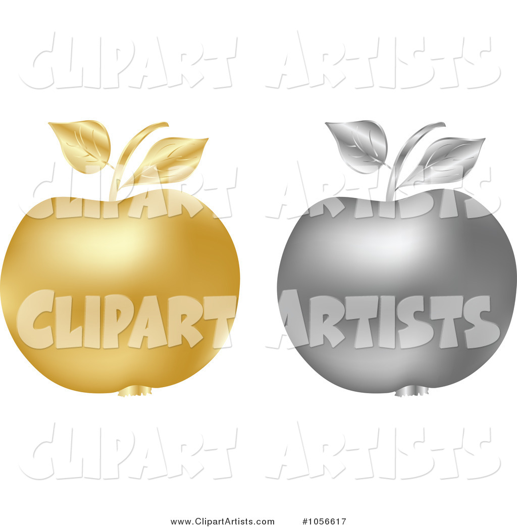 Digital Collage of Silver and Golden Apples