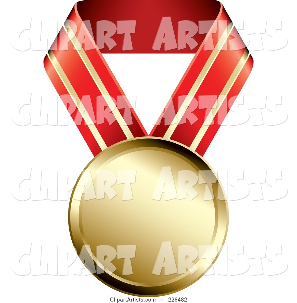 Gold Medal on a Red and Gold Ribbon