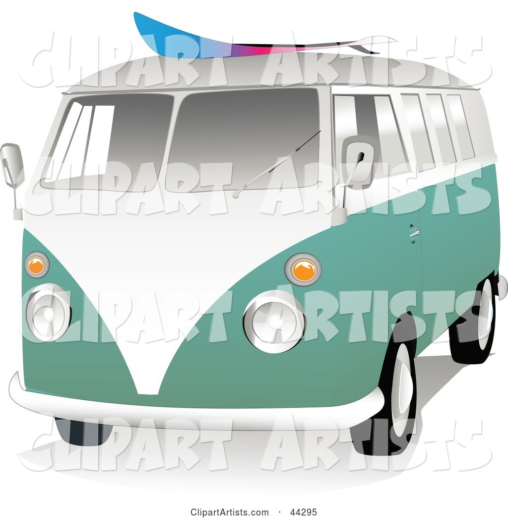 Green and White VW Van with a Surf Board on the Roof