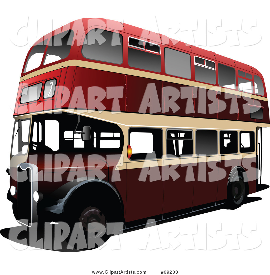 Red Double Decker London Bus on White