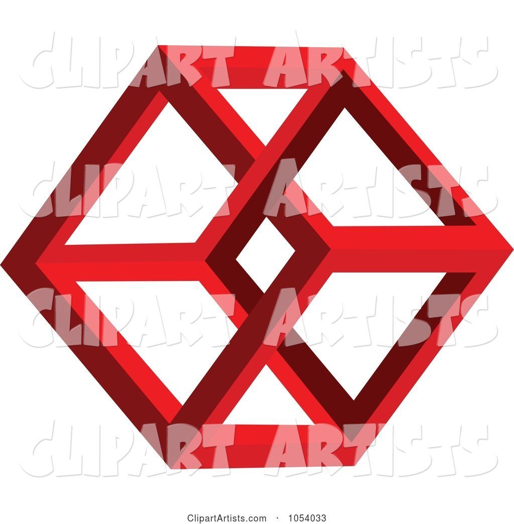 Red Hexagon Shape Logo