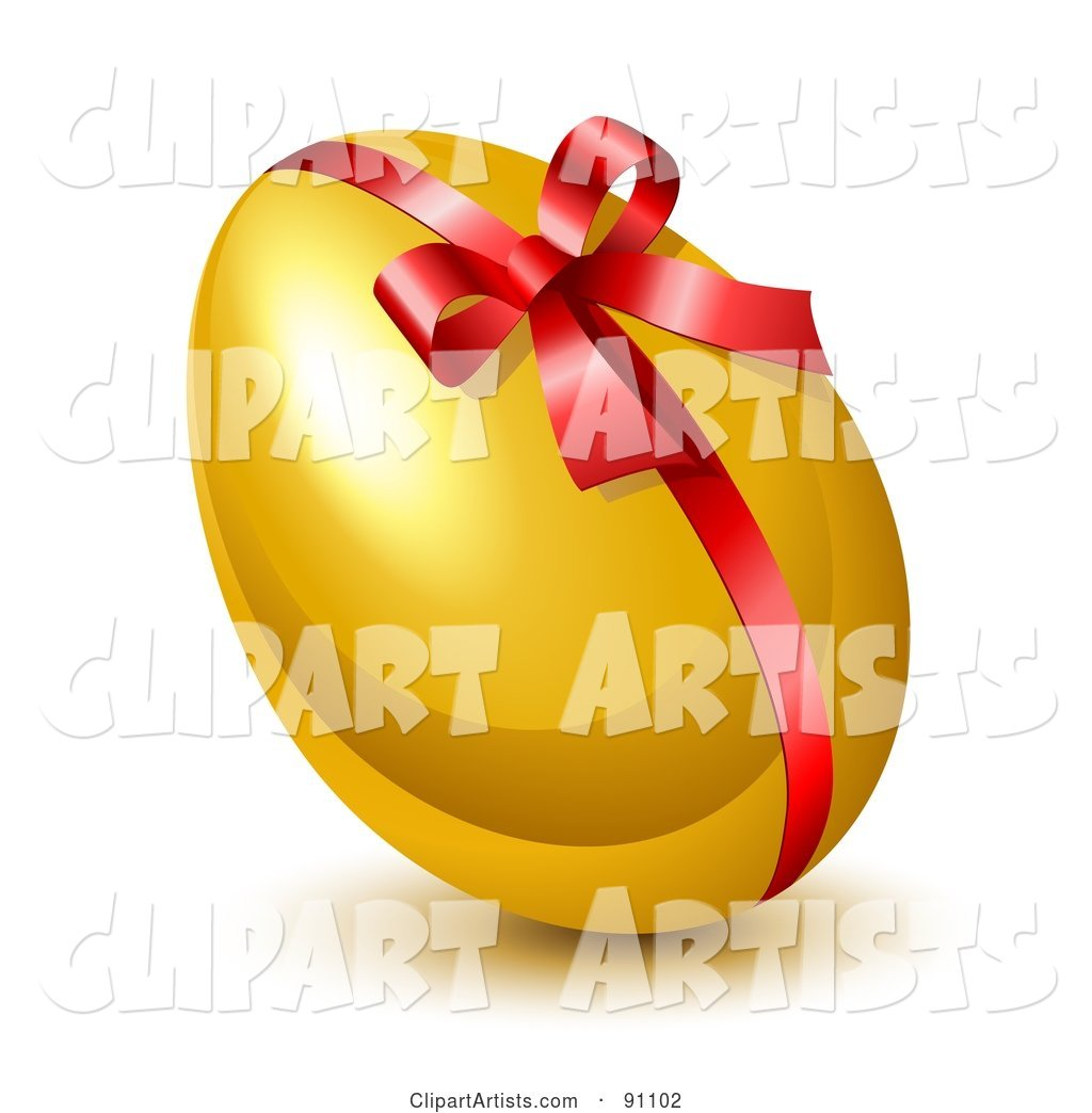 Shiny Golden Easter Egg with a Red Ribbon and Bow