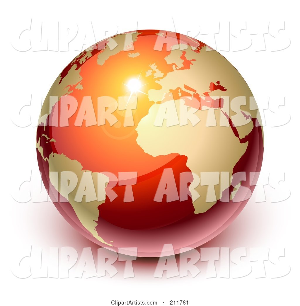 Shiny Red and Gold Globe Featuring Europe