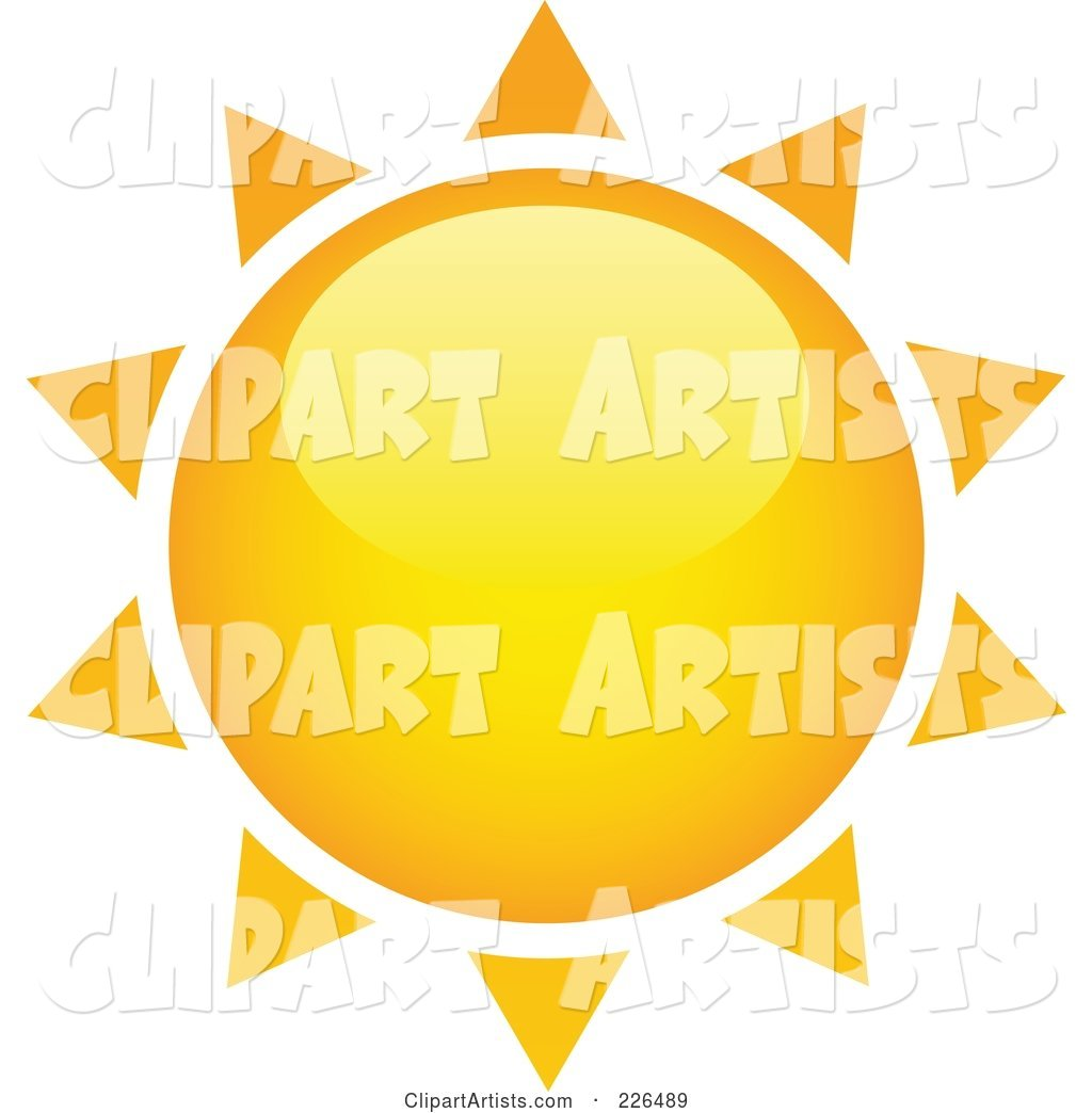 Shiny Yellow and Orange Sun with Spiked Rays