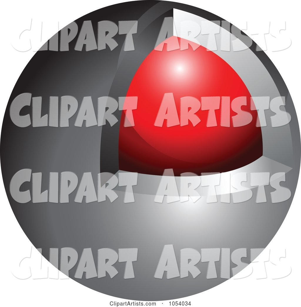 Silver and Red Sphere Logo