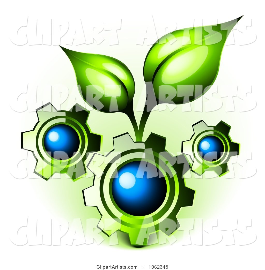 3d Vector #1062345 - 3d Gears with Organic Leaves