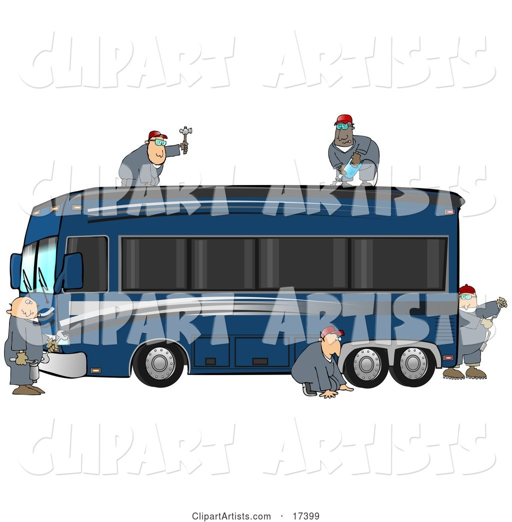5 Male Mechanics in Coveralls, Working Together to Fix and Repair a Luxurious Blue Bus Conversion Rv Motorhome