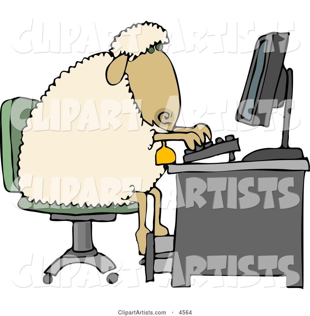 Anthropomorphic Sheep Typing on a Computer Keyboard