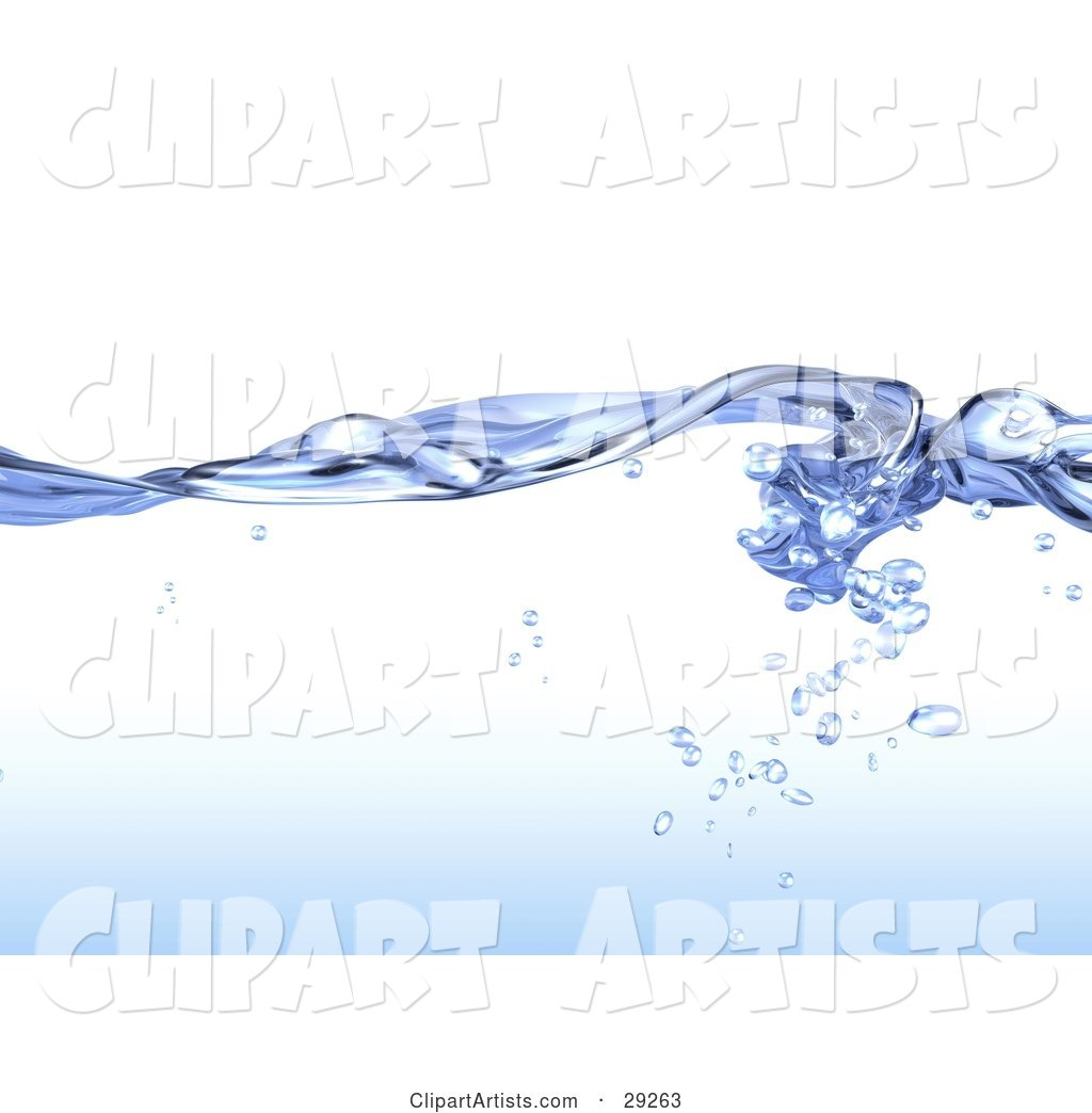 Background of Flowing Blue, Pure Water with Droplets Under the Surface