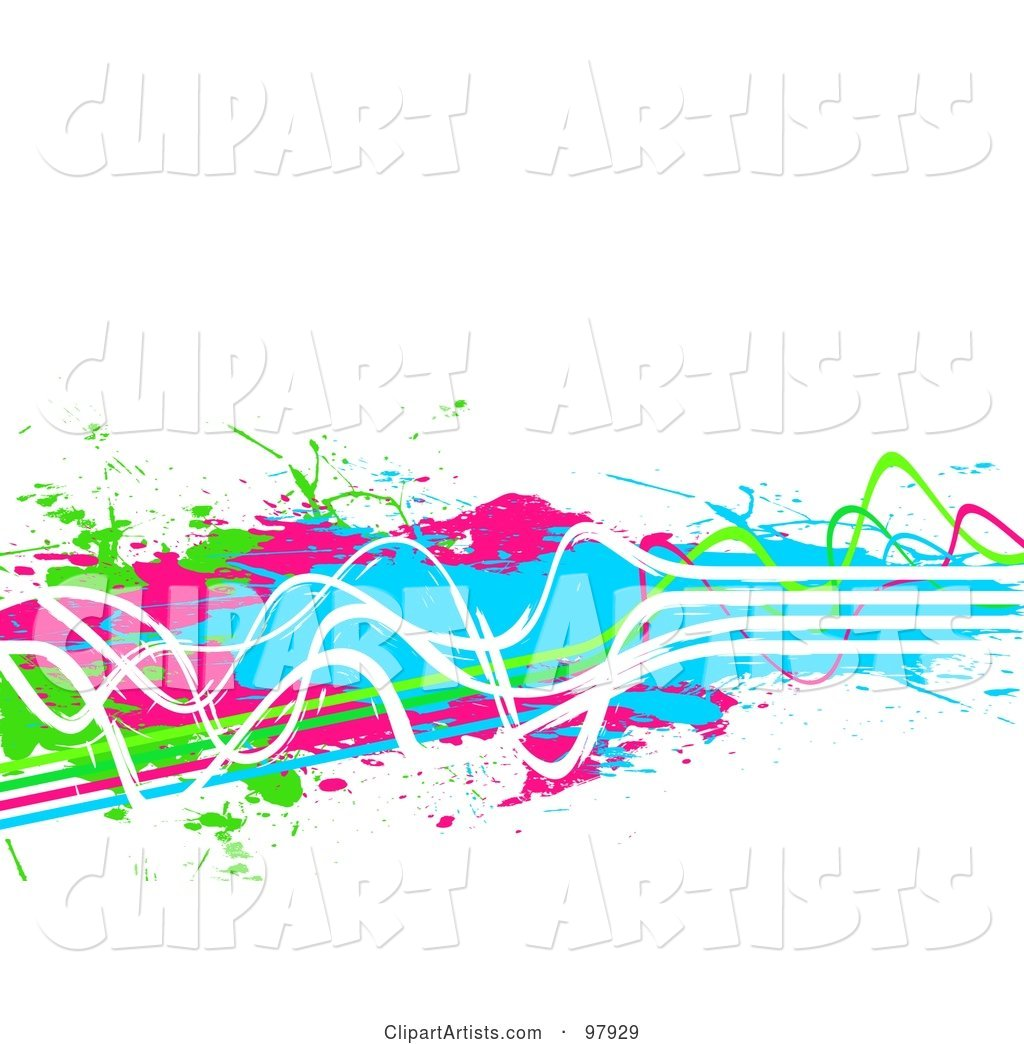 Background of Grungy Neon Green, Pink, Blue and White Paint Lines and Splatters over White