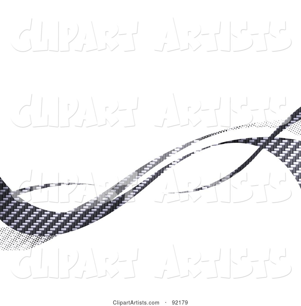 Background of Horizontal Gray Carbon Fiber Swooshes over White