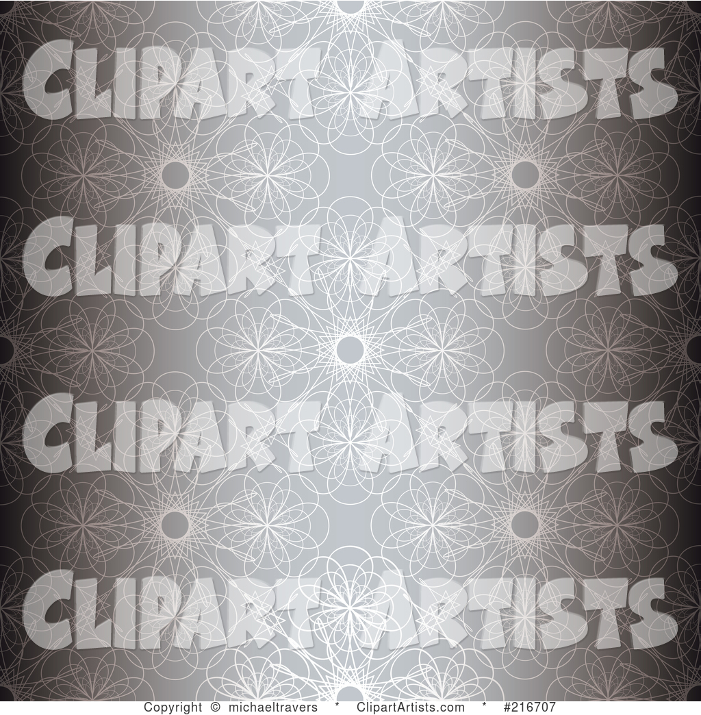 Background of Silver Floral Patterns with Darkened Sides