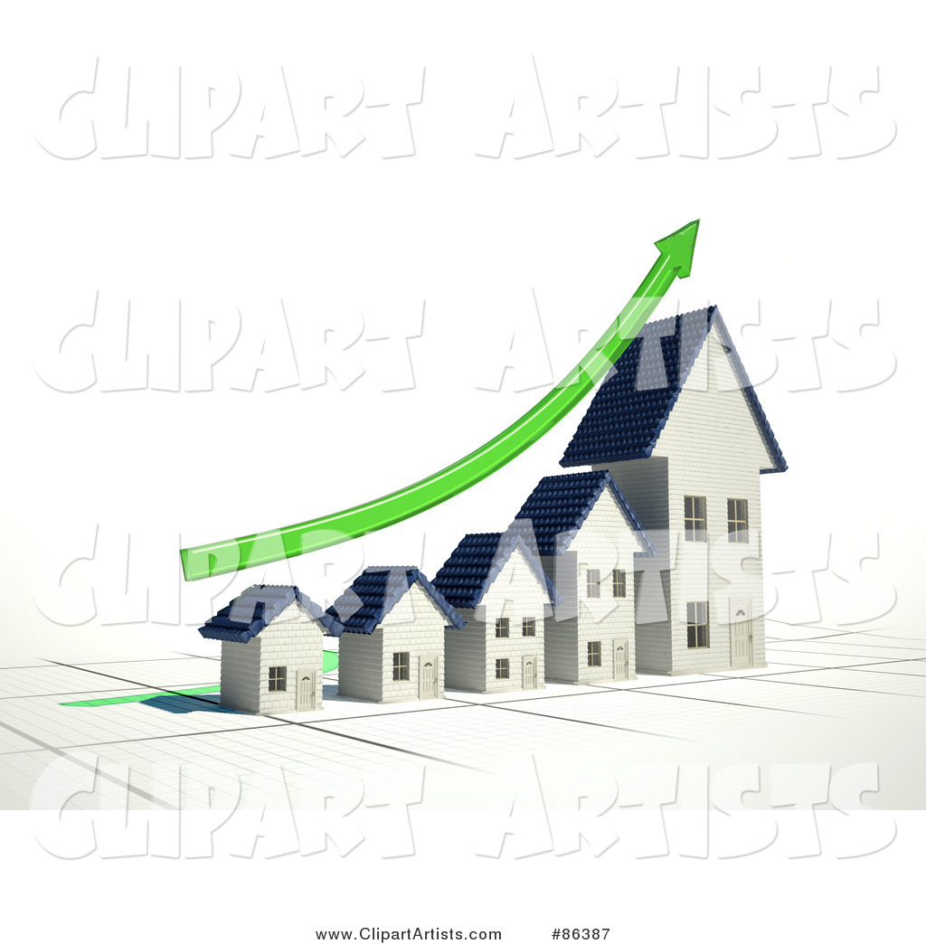 Bar Graph of Homes Depicting Growth with a Green Arrow
