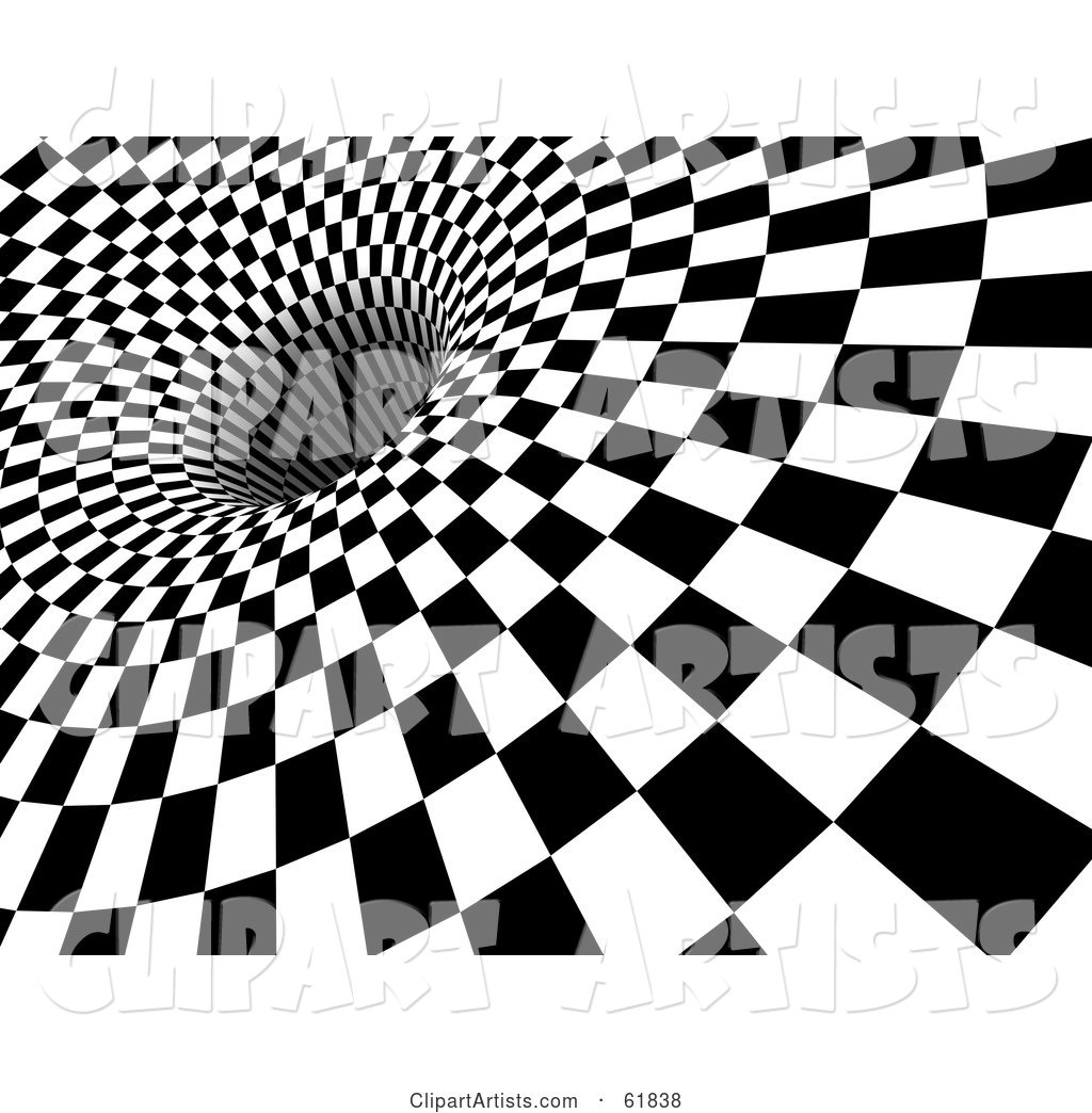 Black and White Checker Background with the Tiles Being Sucked down into a Hole - Version 1