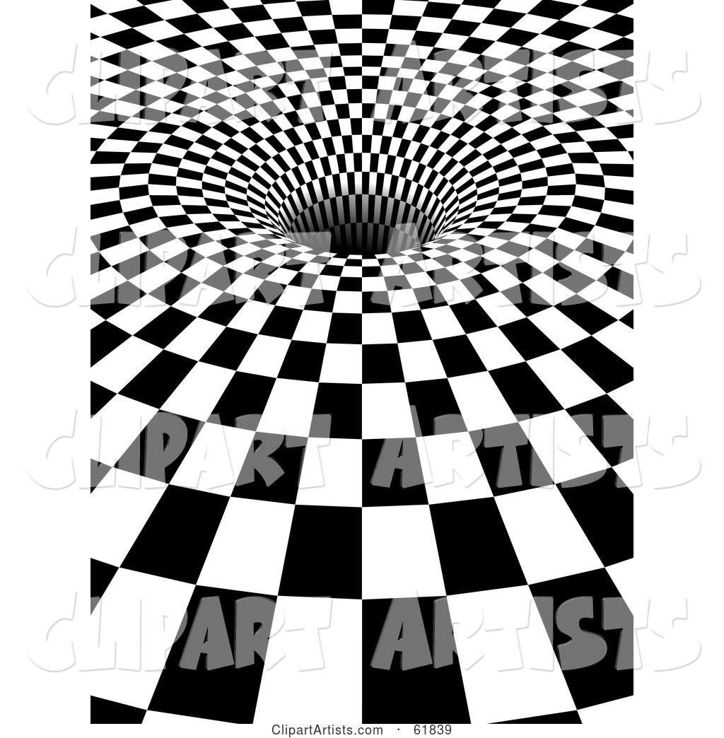 Black and White Checker Background with the Tiles Being Sucked down into a Hole - Version 2