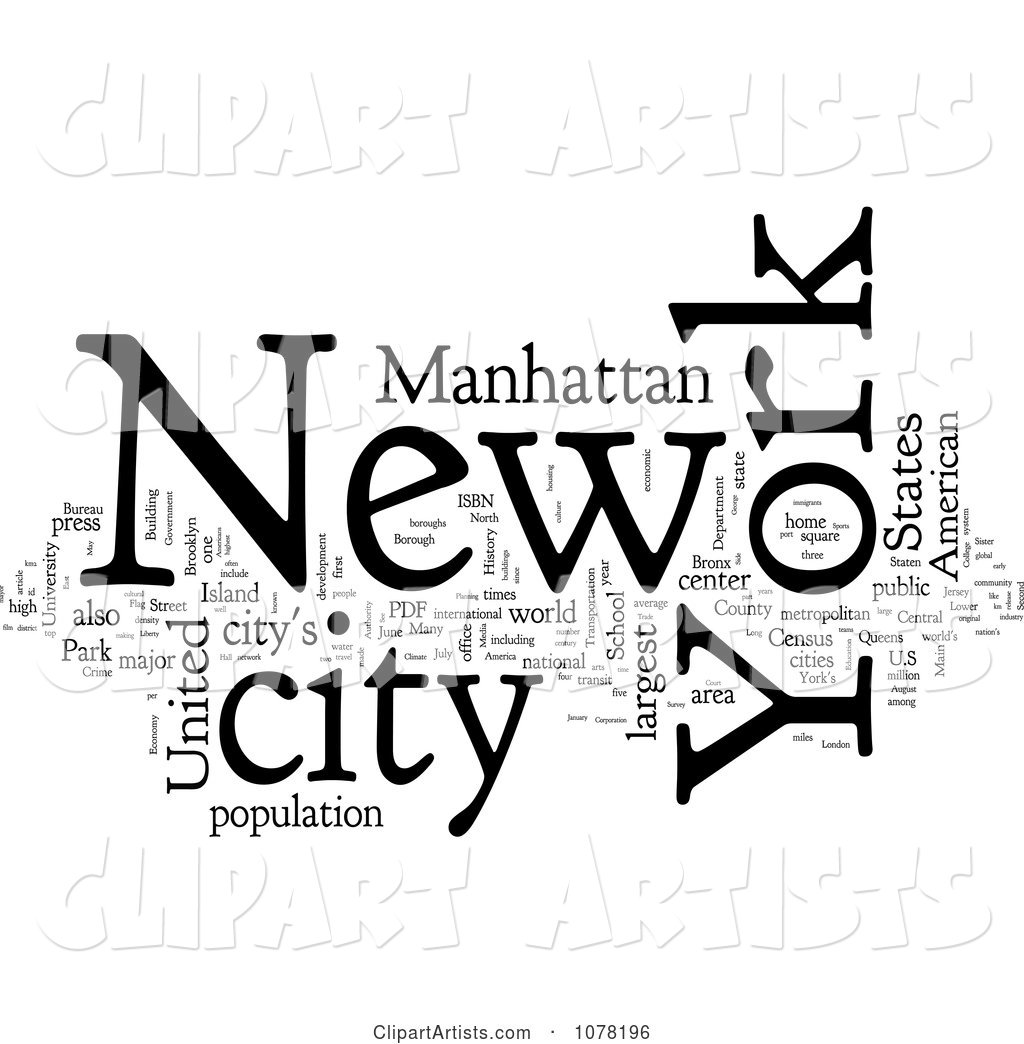 Black and White New York City Word Collage