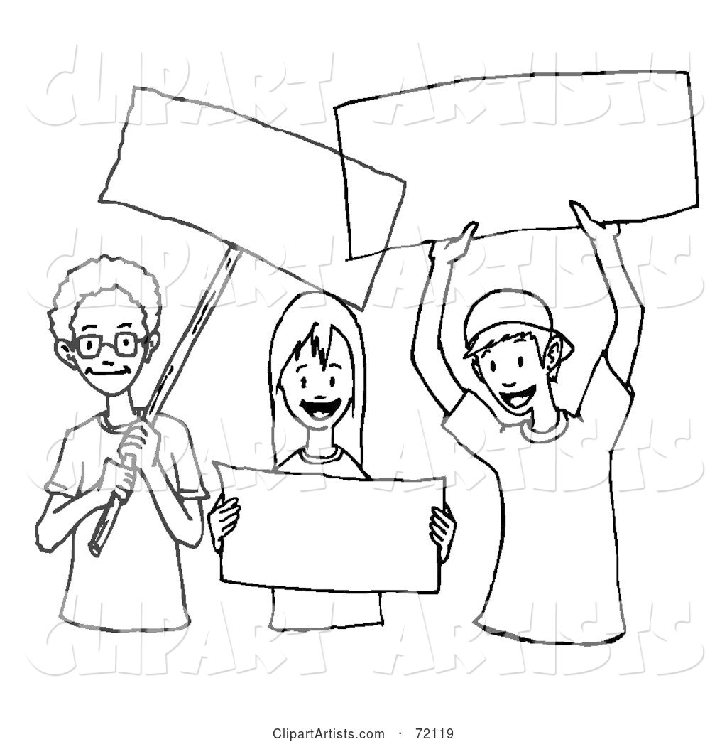 Black and White Outline of Children Holding Blank Signs