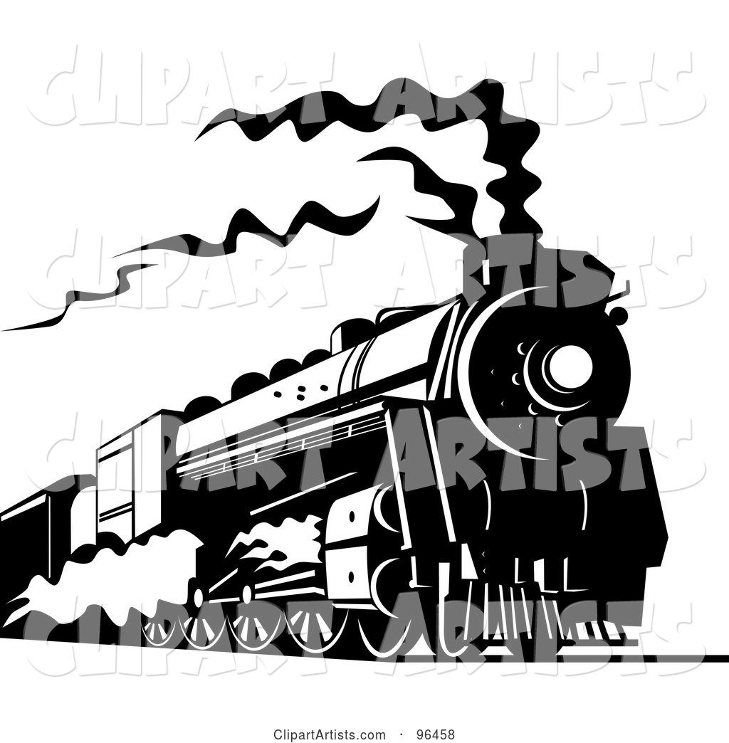 Black and White Steam Train Traveling Along the Railroad