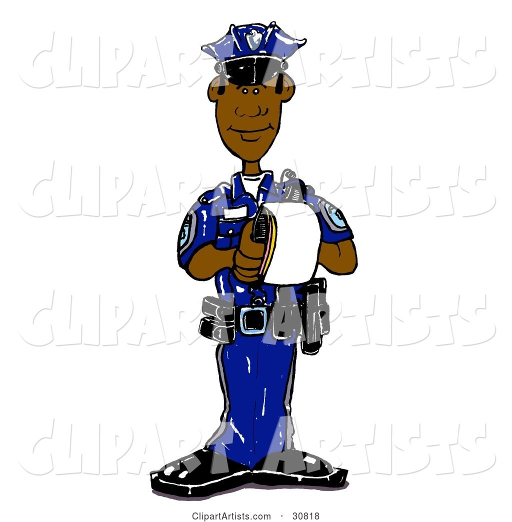 Black Male Cop in a Blue Uniform, Standing and Issuing a Warning or Ticket While on Patrol