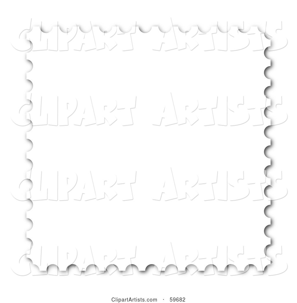 Blank White Stamp with White Trim on White