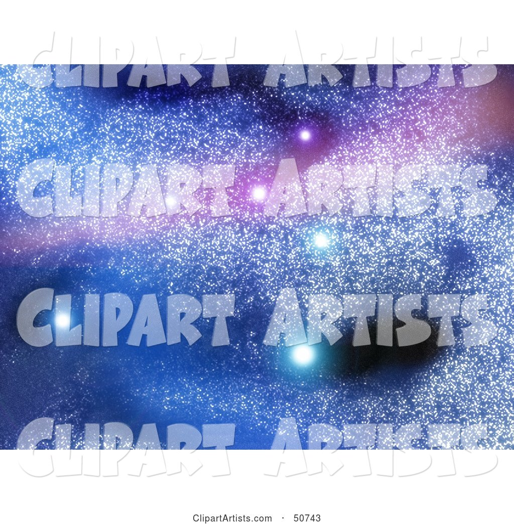 Blue and Purple Starry Background with Glowing Stars in a Galaxy