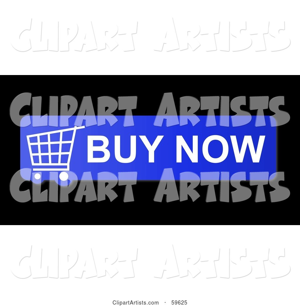 Blue Buy Now Shopping Cart Button Icon on Black