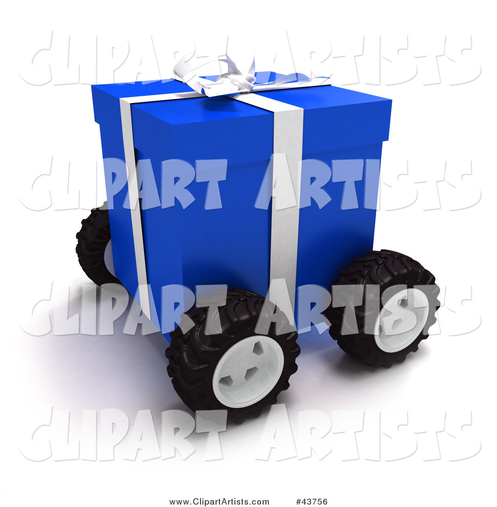 Blue Christmas Present Moving on Wheels