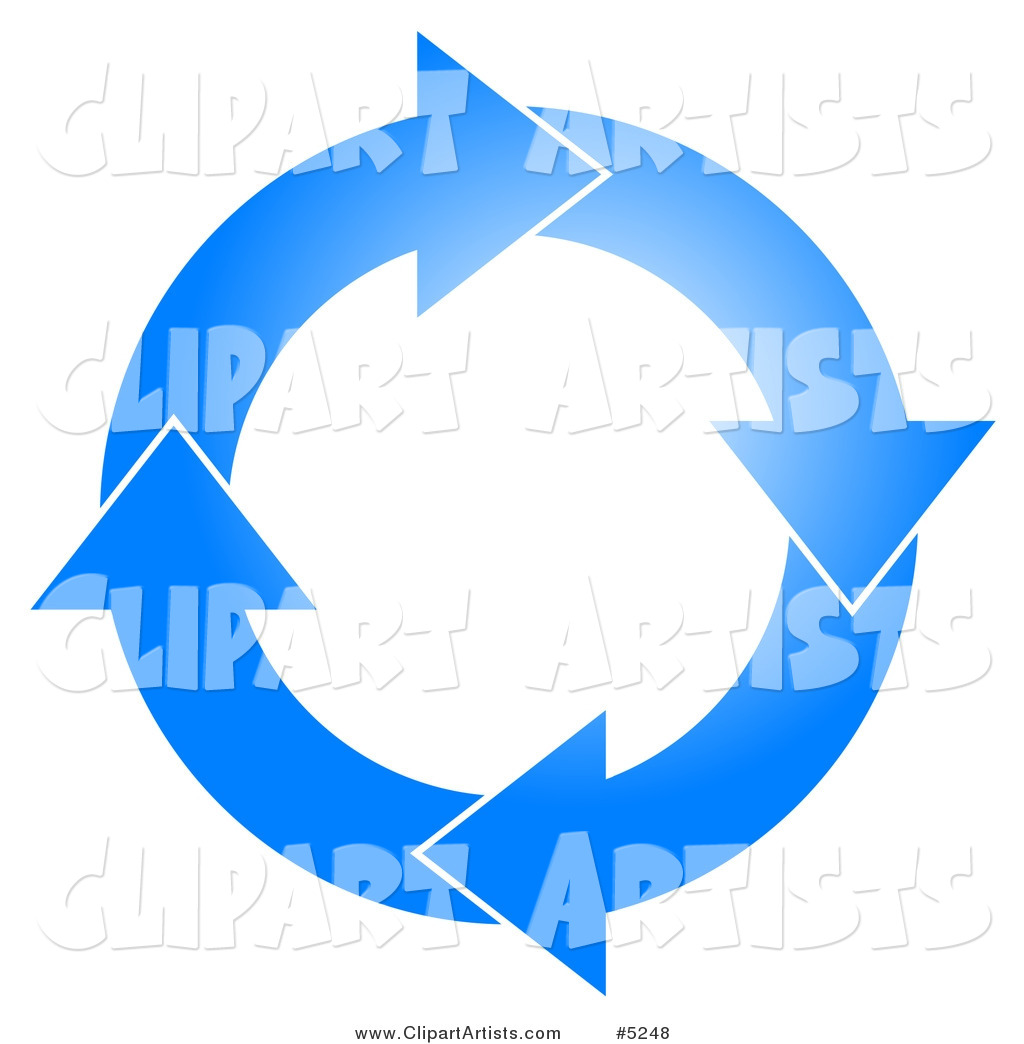Blue Circle of Arrows Turning Clockwise