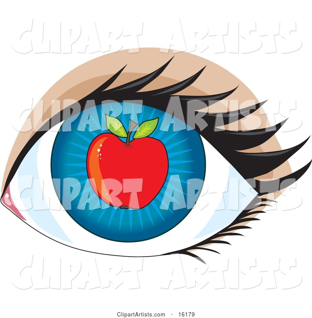 Blue Human Eye with an Apple, Concept for Apple of My Eye